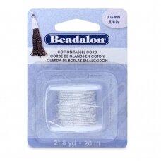 Beadalon® Cotton Tassel Cord .030in/0.76mm Metallic Silver on White (20m/21.8yd)