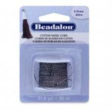 Beadalon® Cotton Tassel Cord .030in/0.76mm Metallic Silver on Black (20m/21.8yd)