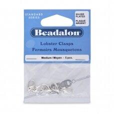 Beadalon® ovalūs užsegimai vidutiniai (Medium) 15.3mm padengti sidabru (5 vnt)