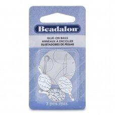 Beadalon® ruošiniai klijavimui dideli (Large) 10x23mm padengti sidabru (3 vnt)