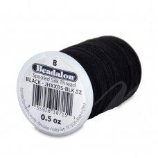 Beadalon® šilkinis siūlas B dydis (.008in/0.20mm) Black (juodas) (357m/1170ft)