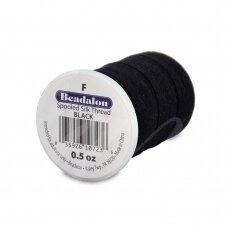 Beadalon® šilkinis siūlas F dydis (.014in/0.35mm) Black (juodas) (127m/420ft)