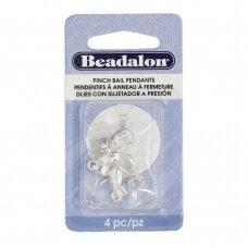 Beadalon® suspaudžiami laikikliai 14mm padengti sidabru (4 vnt)