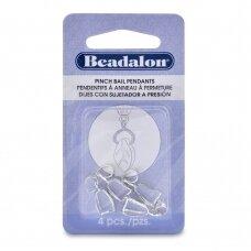 Beadalon® suspaudžiami laikikliai 22mm padengti sidabru (4 vnt)