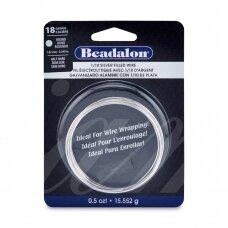 Beadalon® užpildyta sidabru vielutė pusiau kieta 18 Gauge/.040in/1.02mm (2m/7ft)