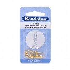 Beadalon® užsegami auskarai su atviru žiedeliu aukso spalvos (6 vnt)