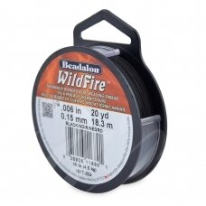Beadalon® WildFire® siūlas karoliukų vėrimui .006in/0.15mm Black (juodas) (18m/20yd)