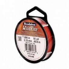 Beadalon® WildFire® siūlas karoliukų vėrimui .006in/0.15mm Red (raudonas) (45m/50yd)