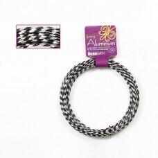 BeadSmith® blizganti vielutė iš aliuminio 12 diametras/2mm Black (juoda) (12m)