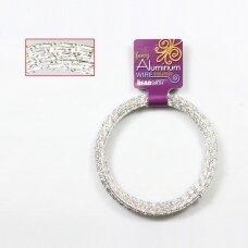 BeadSmith® blizganti vielutė iš aliuminio 12 diametras/2mm Silver (sidabro spalvos)(12m)