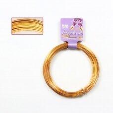 BeadSmith® dekoratyvinė vielutė iš aliuminio 12 diametras/2mm Gold (aukso spalvos) (11.8m)
