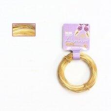BeadSmith® dekoratyvinė vielutė iš aliuminio 18 diametras/1mm Light Gold (šviesaus aukso spalvos) (11.8m)