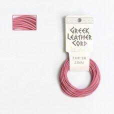 BeadSmith® graikiška odinė virvelė 2mm Pink (rožinė) (5m)