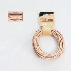 BeadSmith® indiška odinė virvelė 3mm Natural (kūno spalvos) (4.57m)