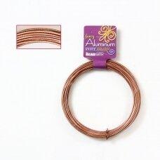 BeadSmith® išraižyta vielutė iš aliuminio 12 diametras/2mm Light Copper (šviesaus vario spalvos) (11.8m)