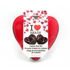 BeadSmith® replių rinkinys širdelės formos dėkle (4 vnt)