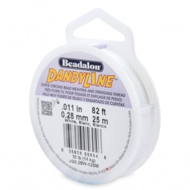 Beadalon® DandyLine™ pintas siūlas .011in/0.28mm baltas (25m/82ft)