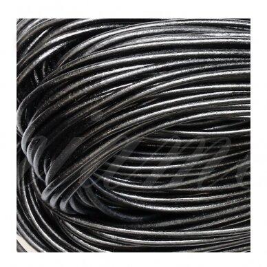 BeadSmith® graikiška odinė virvelė 2mm Black (1m)