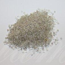 bis0021-12/0 1.8 - 2.0 mm, apvali forma, skaidrus, viduriukas su folija, apie 50 g.