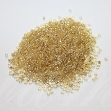 bis0022-12/0 1.8 - 2.0 mm, apvali forma, skaidri, gelsva spalva, viduriukas su folija, apie 50 g.