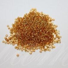 bis0022-12/0 1.8 - 2.0 mm, apvali forma, skaidri, geltona spalva, viduriukas su folija, apie 50 g.