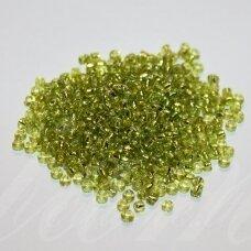 bis0024-12/0 1.8 - 2.0 mm, apvali forma, skaidri, šviesi, žalia spalva, apie 50 g.