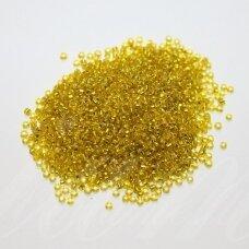bis0030-12/0 1.8 - 2.0 mm, apvali forma, skaidri, geltona spalva, viduriukas su folija, apie 50 g.