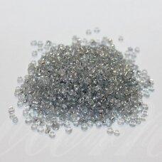 bis0042a-12/0 apie 1.8 - 2.0 mm,apvali forma, pilka spalva, viduriukas su folija, apie 50 g.