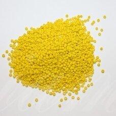 bis0042 m-12/0 1.8 - 2.0 mm, apvali forma, matinė, geltona spalva, apie 50 g.