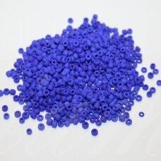 bis0048m-12/0 1.8 - 2.0 mm, apvali forma, matinė, mėlyna spalva, apie 50 g.
