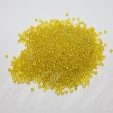 bis0170-12/0 1.8 - 2.0 mm, apvali forma, skaidri, geltona spalva, ab danga, apie 50 g.