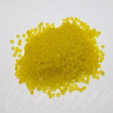 bis0010m-12/0 1.8 - 2.0 mm, apvali forma, matinė, geltona spalva, apie 50 g.