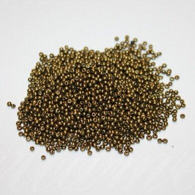 bis0913-12/0 1.8 - 2.0 mm, apvali forma, matinė, bronzinė spalva, apie 50 g.