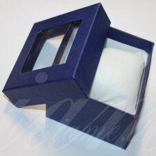 dz0060-kvad-90x90x50 apie 90 x 90 x 50 mm, kvadrato forma, mėlyna spalva, skaidrus langelis, dovanų dėžutė, 1 vnt.