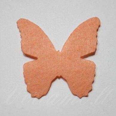 fd0002-drug-32x32 apie 32 x 32 mm, drugelio forma, persikinė spalva, filcas, 1 vnt.