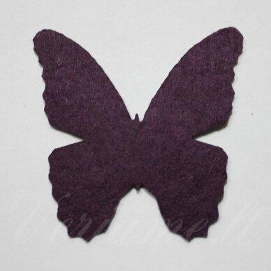 fd0006-drug-32x32 apie 32 x 32 mm, drugelio forma, tamsi, violetinė spalva, filcas, 1 vnt.