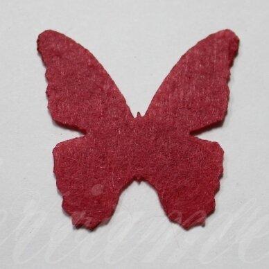 fd0009-drug-32x32 apie 32 x 32 mm, drugelio forma, raudona spalva, filcas, 1 vnt.