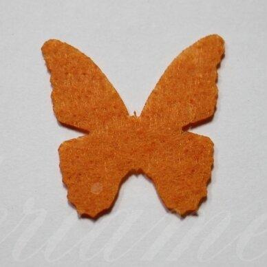 fd0010-drug-32x32 apie 32 x 32 mm, drugelio forma, oranžinė spalva, filcas, 1 vnt.