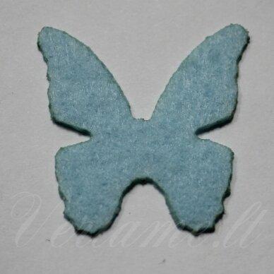 fd0016-drug-32x32 apie 32 x 32 mm, drugelio forma, šviesi, žydra spalva, filcas, 1 vnt.