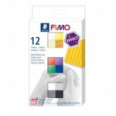 FIMO® Effect modelinas (kietėjantis aukštoje temperatūroje) įvairių spalvų pakuotė (12 vnt/25g kiekvienas)