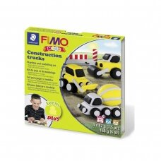 """FIMO® Kids modelinas (kietėjantis aukštoje temperatūroje) Form & Play kūrybos rinkinys """"Construction Trucks"""""""