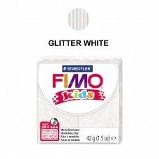 FIMO® Kids modelinas (kietėjantis aukštoje temperatūroje) Glitter White 42g