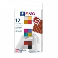 FIMO® Leather Effect modelinas (kietėjantis aukštoje temperatūroje) įvairių spalvų pakuotė (12 vnt/25g kiekvienas)