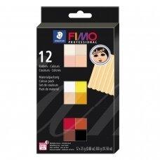 """FIMO® Professional """"Doll Art"""" modelinas (kietėjantis aukštoje temperatūroje) įvairių spalvų pakuotė (12 vnt/25g kiekvienas)"""