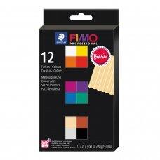 FIMO® Professional modelinas (kietėjantis aukštoje temperatūroje) standartinių spalvų pakuotė (12 vnt/25g kiekvienas)