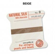 Griffin® 100% natūralaus šilko siūlas (1 adata) dydis 0 (0.30mm) Beige (2m)