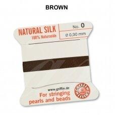 Griffin® 100% natūralaus šilko siūlas (1 adata) dydis 0 (0.30mm) Brown (2m)