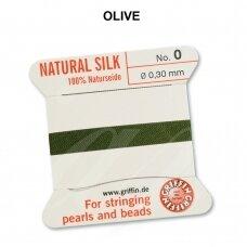 Griffin® 100% natūralaus šilko siūlas (1 adata) dydis 0 (0.30mm) Olive (2m)