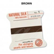 Griffin® 100% natūralaus šilko siūlas (1 adata) dydis 1 (0.35mm) Brown (2m)