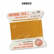 Griffin® 100% natūralaus šilko siūlas (1 adata) dydis 10 (0.90mm) Amber (2m)